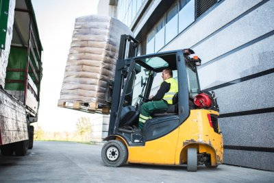 Forklift moving stock